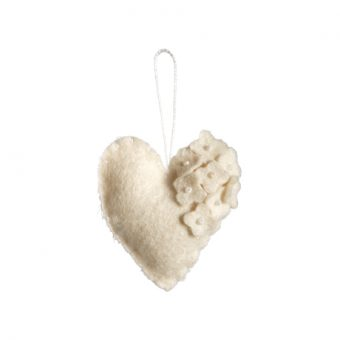 Handmade Felt Heart with Pearls