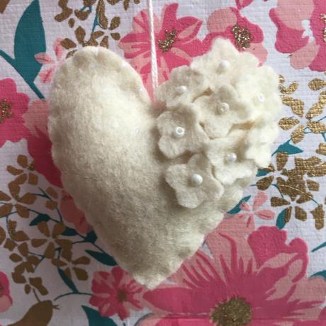 Handmade Felt Heart with Pearls 2
