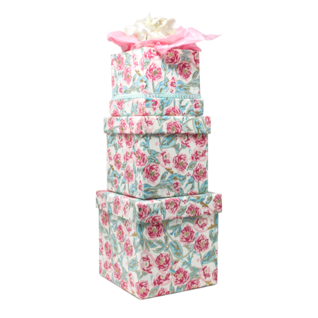 Peonies in Bloom – 3 Piece Nested Gift Box Set