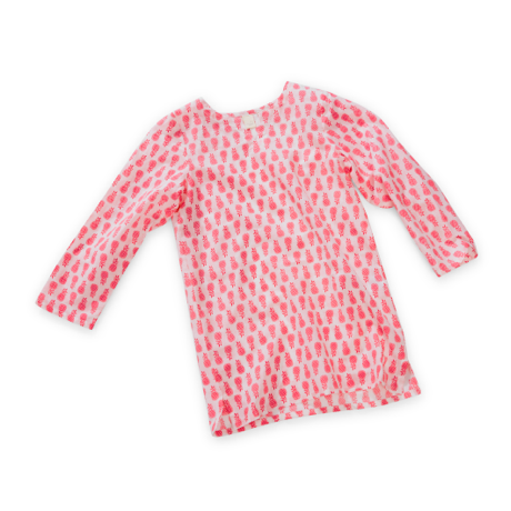 Wee Piper Pineapple Tunic, Bright Pink