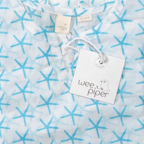 Wee Piper Starfish Tunic, Bleached Aqua 3