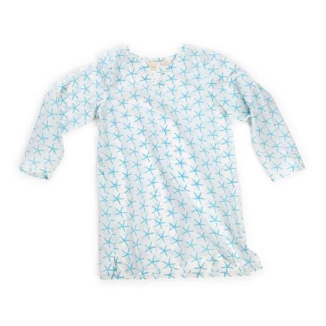 Wee Piper Starfish Tunic, Bleached Aqua 2