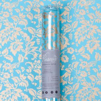 Aqua Gold Glitter Floral Gift Wrap