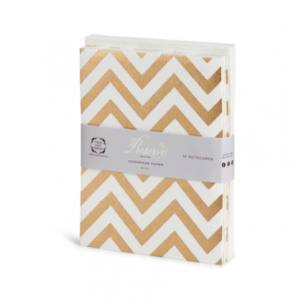10 Pc Notecard Soft Pack – Cream Gold Chevron