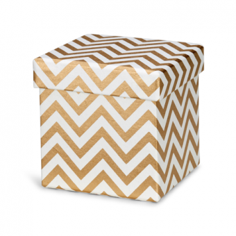 5 Inches Square Box – Cream Gold Chevron