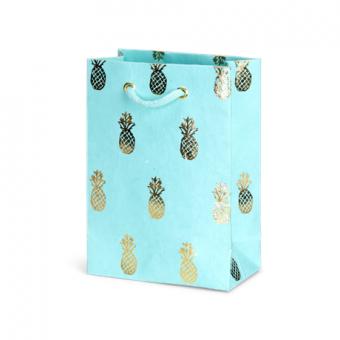 Petite Gift Bag – Caribbean Sky Gold Foil Pineapple