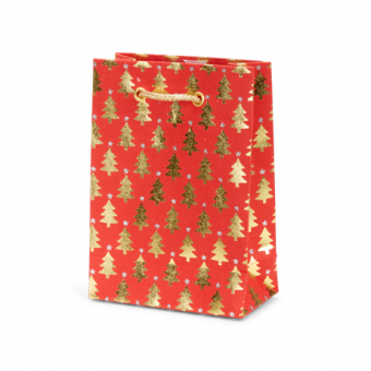 Petite Gift Bag – Red Gold Tree