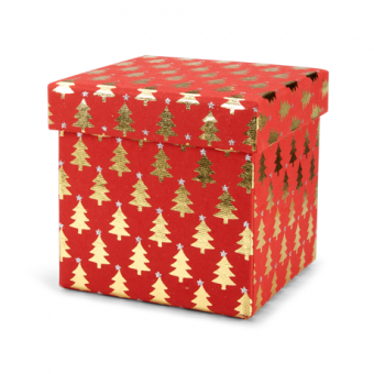 5 Inches Square Box – Red Gold Tree