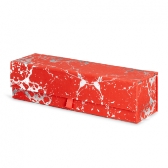 Wine Multi Use Gift Box -Red Silver Crackle