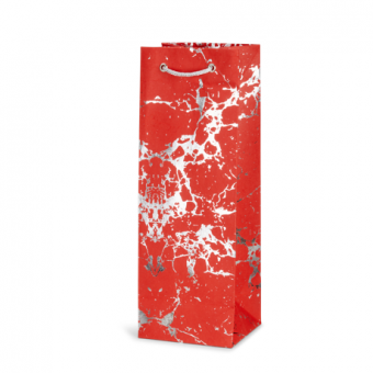 Wine Bottle Gift Bag -Red Silver Crackle 2