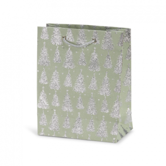Classic Cub Gift Bag -Sage Silver Glitter Tree