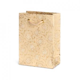 Petite Gift Bag – Sandstone Floral Glitter