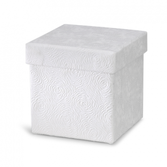 5 Inches Square Box – Soft White Floral Embossed