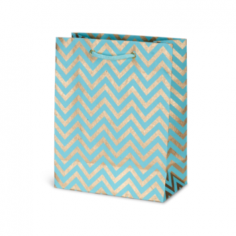 Classic Cub Gift Bag – Turquoise Gold Chevron