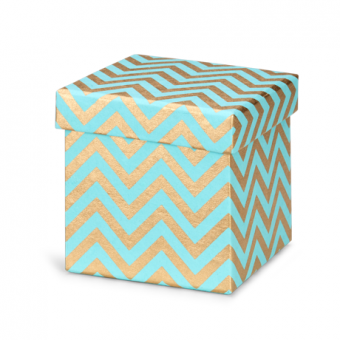 5 Inches Square Box – Turquoise Gold Chevron