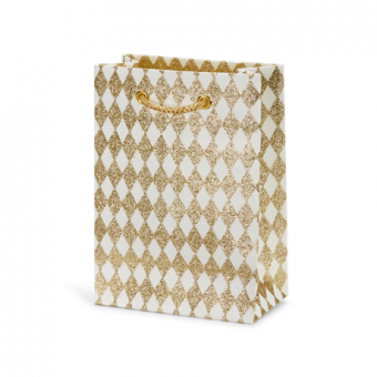 Petite Gift Bag – White Gold Glitter Harlequin
